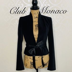 CLUB MONACO BLACK COTTON BLEND VELVET SZ 4 BLAZER